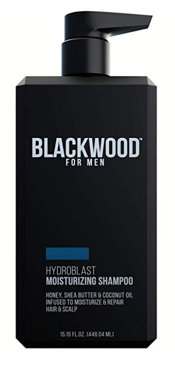Pump bottle of Blackwood for men best smelling shampoo