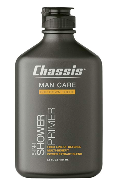 9.5 ounce bottle of Chassis 5-in-1 shower primer wash for men's balls