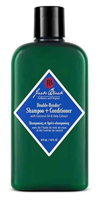 16 ounce bottle of Jack Black double header shampoo for men with long hair