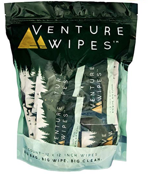 A bag of Venture body wipes for men