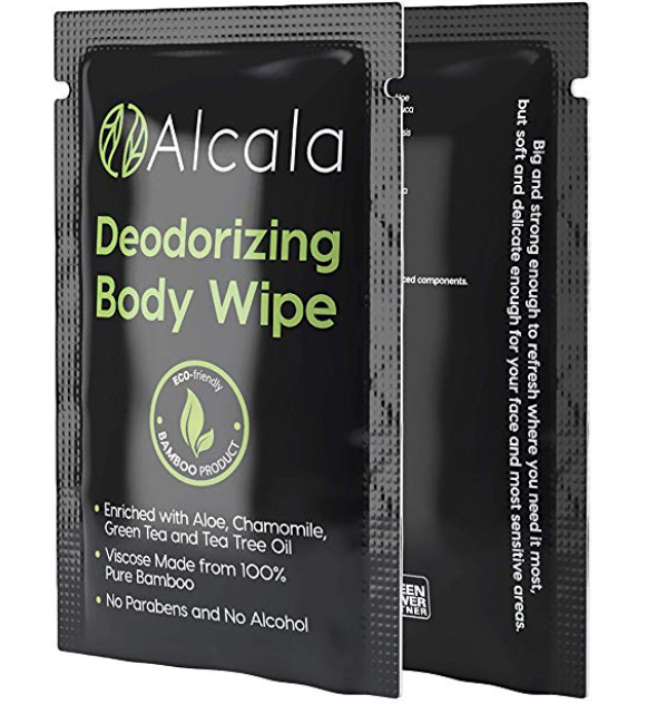 2 packets of Alcala body wipes for men's sweaty balls and body