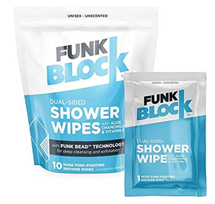 A bag of Funk Block shower wipes for men's sweaty balls and body