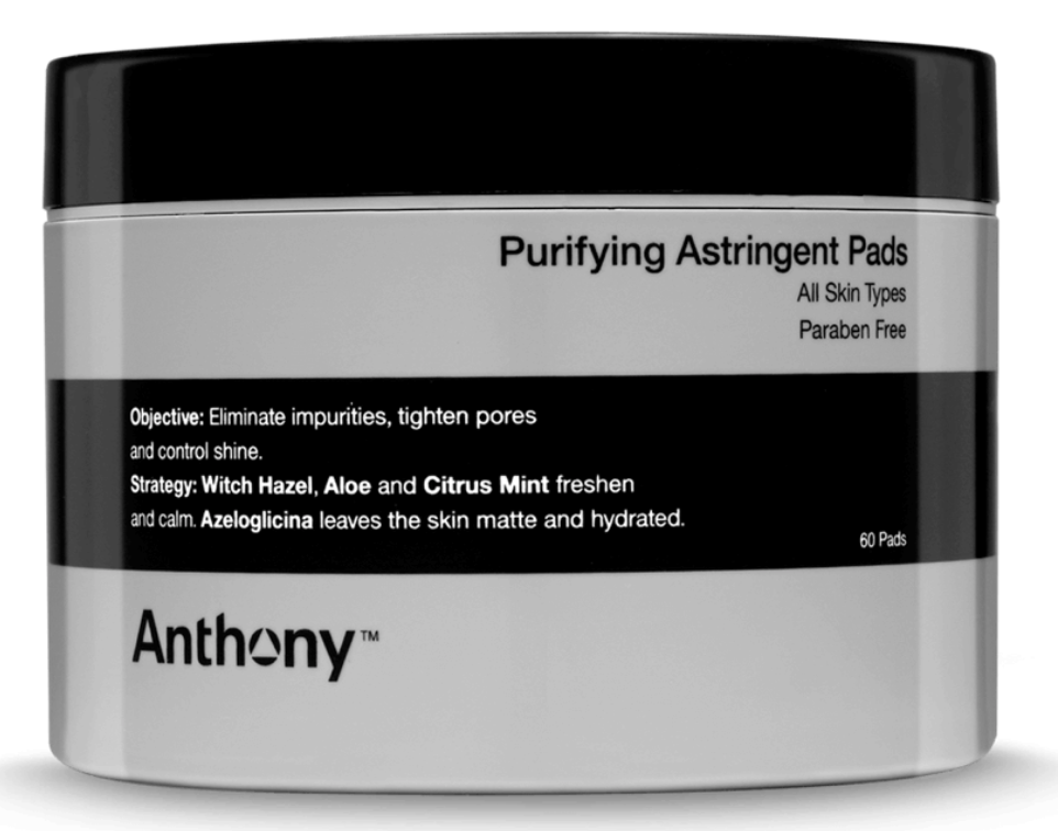 Jar of 60 Anthony astringent toner pads for oily skin