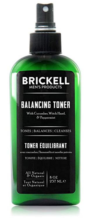 Bottle of Brickell balancing toner for oily skin