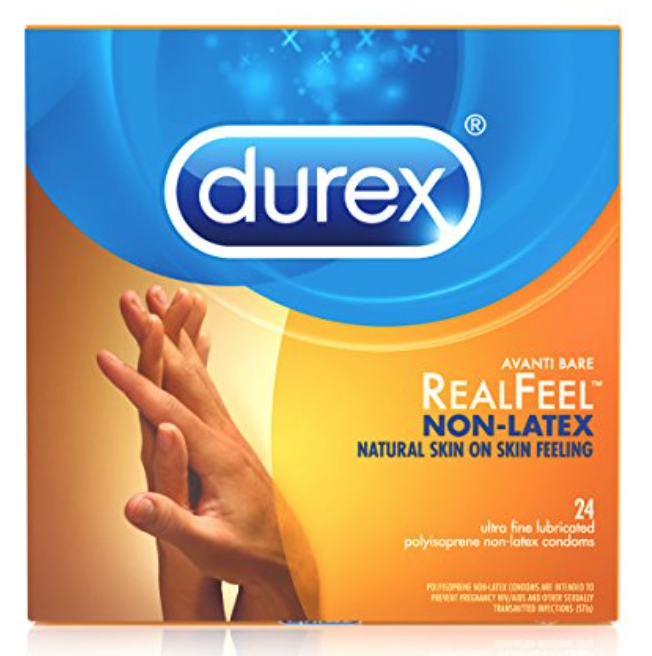Box of Durex RealFeel best non latex condoms for sensitive skin