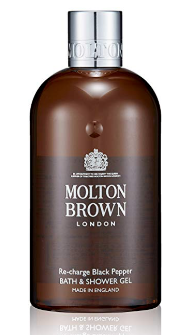 Bottle of Molton Brown Re-charge black pepper best smelling body wash for men