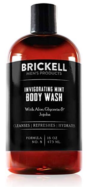Bottle of Brickell Invigorating Mint body wash for men - best smelling body wash for men.
