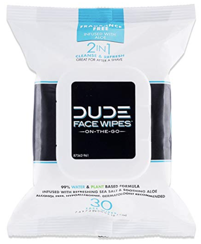 30 count package of DUDE Face wipes for men.