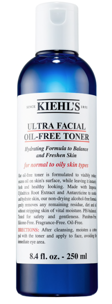 Bottle of Kiehl's Ultra Facial men's oil-free toner for oily skin