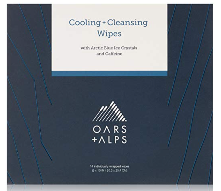 Box of Oars + Alps Cooling and Cleansing best face wipes for men.