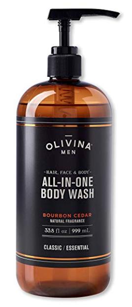 Bottle of Olivina all in one bourbon cedar best smelling body wash for men