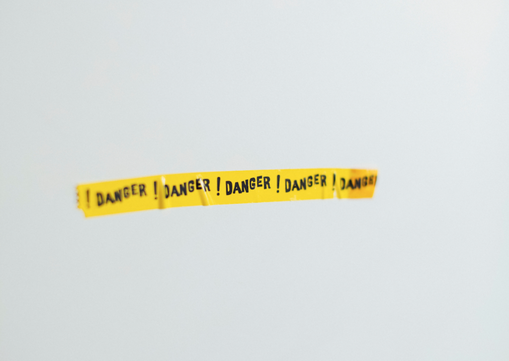 Yellow banner that says DANGER!