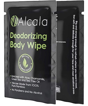 One individually wrapped Alcala body wipe - best body wipe for camping, hiking, and backpacking.