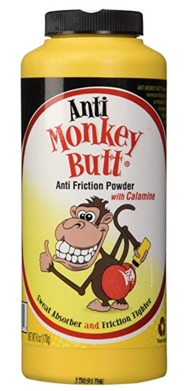 Bottle of Anti Monkey Butt Powder for men's balls and body