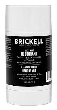 Stick of Brickell fresh mint deodorant - best smelling deodorant for men