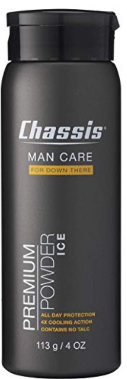 Bottle of Chassis powder deodorant for men's balls