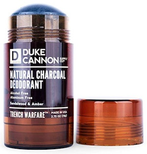 Stick of Duke Cannon Natural Charcoal deodorant for men - best men's deodorant without aluminum