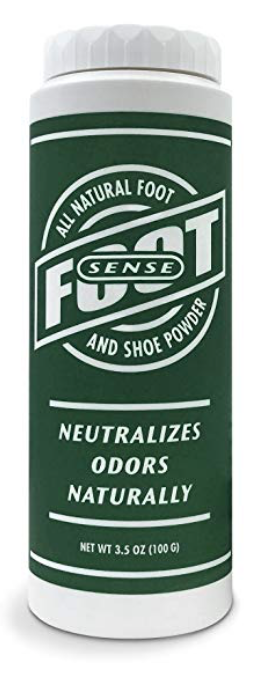 Bottle of Foot Sense powder for sweaty and smelly feet