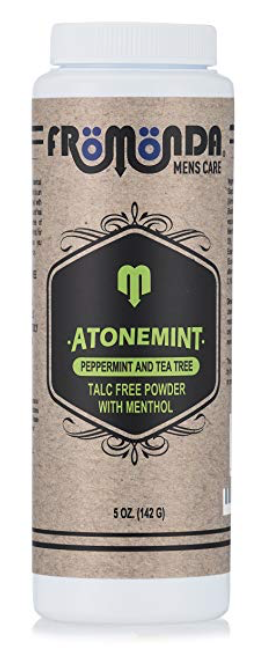 Bottle of Fromonda Atonemint powder for sweaty and smelly feet