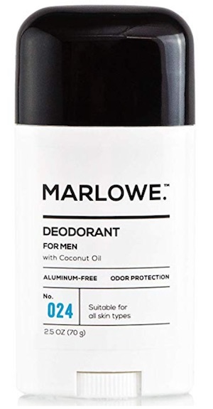 2.5 ounce stick of Marlowe No. 024 men's deodorant without aluminum.