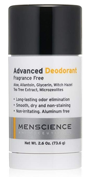 2.6 ounce stick of MenScience Androceuticals aluminum free deodorant for men