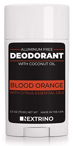2.5 ounce stick of Nextrino aluminum free deodorant for men. Blood orange scent.