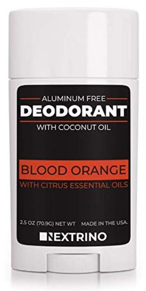 2.5 ounce stick of Nextrino aluminum free deodorant for men. Blood orange scent.