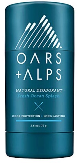 2.6 ounce stick of Oars and Alps men's deodorant without aluminum. Fresh ocean splash scent.