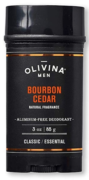 3 ounce stick of Olivina aluminum free deodorant for men. Bourbon cedar scent.