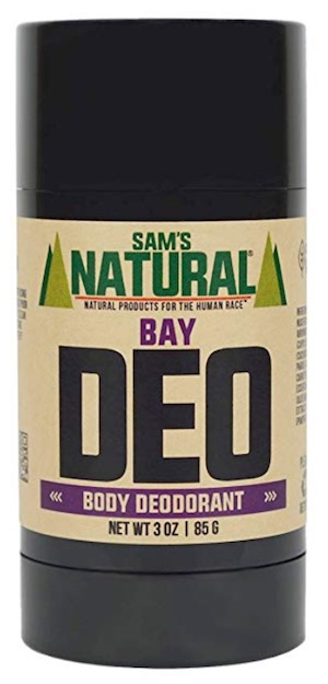 3 ounce stick of Sam's Natural aluminum free deodorant for men. Bay scent.