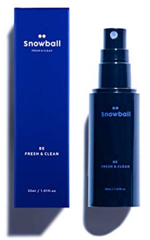 Bottle of Snowball spray deodorant for men's balls - Best ball deodorant