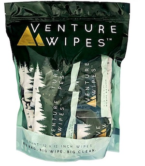 Package of Venture body wipes for camping, hiking, and backpacking