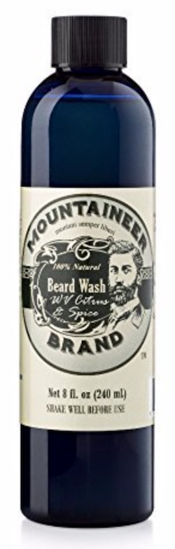 Bottle of Mountaineer Brand beard wash - best beard wash and shampoo for dandruff