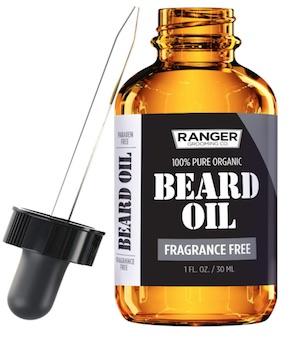 Bottle of Ranger beard oil - best unscented beard oil for men