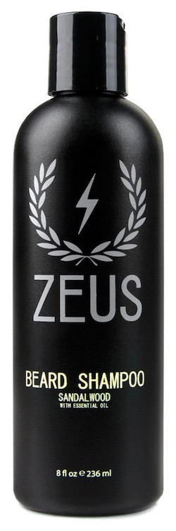 Bottle of Zeus beard shampoo - best beard wash and shampoo for dandruff