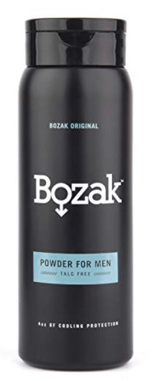 Bottle of Bozak anti-fungal powder - best powders, creams, and sprays for jock itch.
