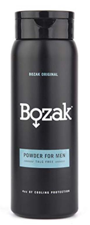 Bottle of Bozak anti-fungal powder - best powders, creams, and sprays for jock itch.