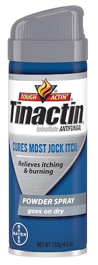 Spray can of Tinactin anti-fungal powder spray - best powders, creams, and sprays for jock itch.