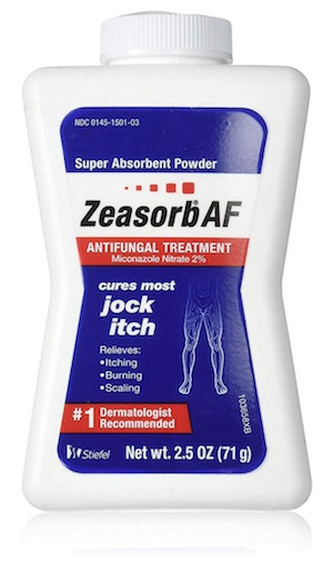 Bottle of Zeasorb anti-fungal powder - best powders, creams, and sprays for jock itch.