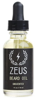 Bottle of Zeus unscented beard oil