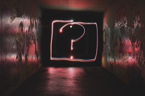 A neon light question mark
