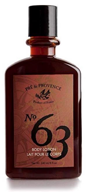 Bottle of Pre de Provence No. 63 body lotion for men - best smelling body lotion for men