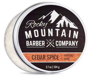Tin of Rocky Mountain Barber Co. shave soap - best smelling shave soaps for men