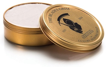 Tin of The Blades Grim shave soap - best smelling shave soaps for men.