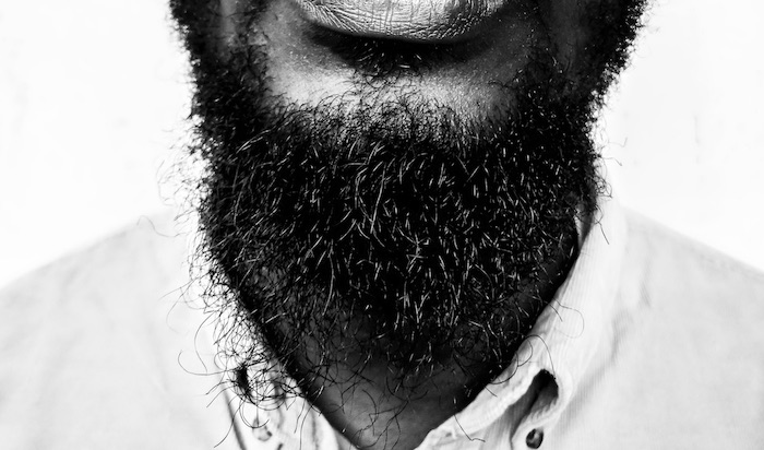 Up close image of a man's beard