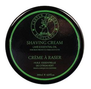 Jar of Castle Forbes Lime Essential Oil shaving cream