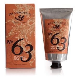 Tube of Pre de Provence No. 63 shaving cream for men