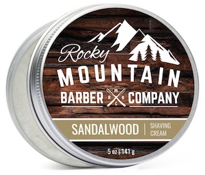 Tin of Rocky Mountain Barber Co. Sandalwood shaving cream