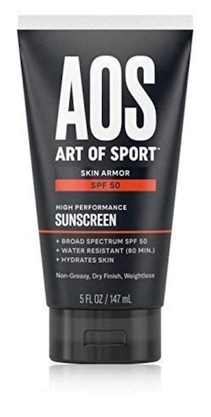 A bottle of Art of Sport Skin Armor SPF sunscreen