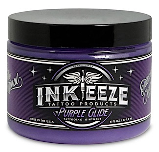 Jar of INK-EEZE Purple Glide tattoo ointment